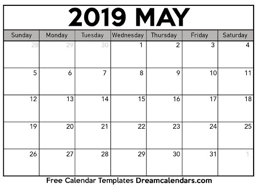 Printable May 2019 Calendar - Dream Calendars