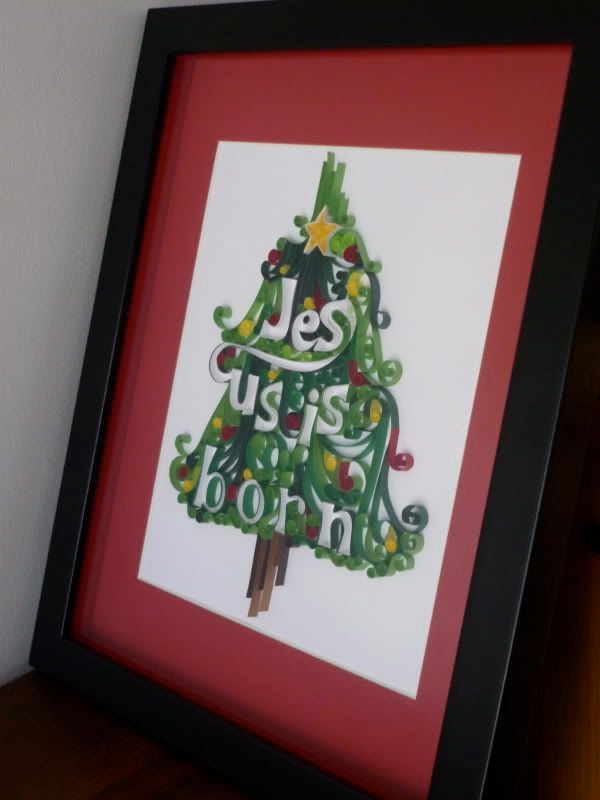 """Jesus is Born"" Tree Quilling Framed"