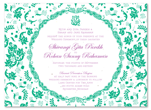 Vintage Hindu cream seeded paper invites