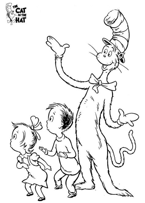cat   hat coloring pages  printable coloring home