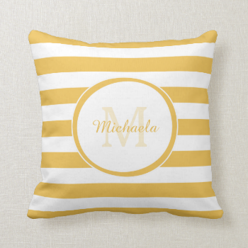 Trendy Yellow White Stripes With Monogram and Name Throw Pillow