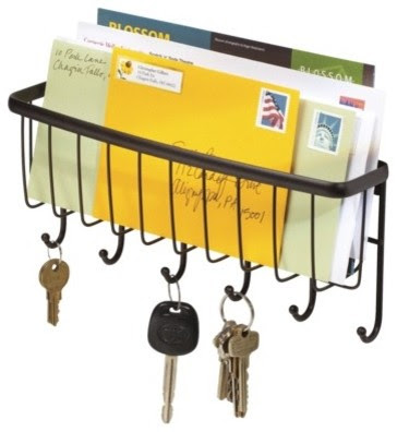 InterDesign Axis Wallmount Mail & Key Rack, Bronze - traditional ...