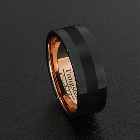 Mens Wedding Band Black Tungsten Ring 8mm Rose Gold Groove
