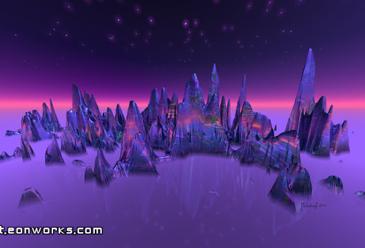 Starry isles 2, violet space landscape with stars