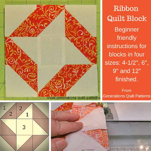 Ribbon Quilt Block Pattern in Four Sizes