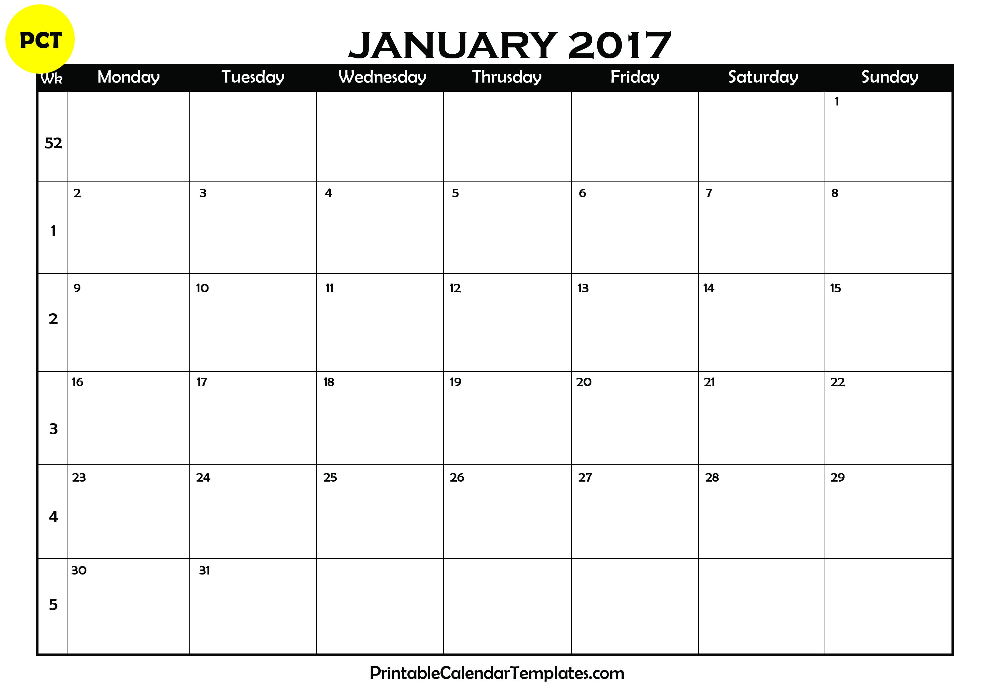 January 2017 printable calendar templates | Printable Calendar ...