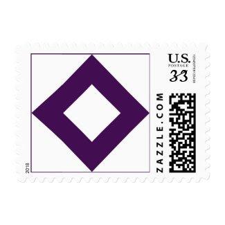 White and Purple Diamond Pattern Stamp