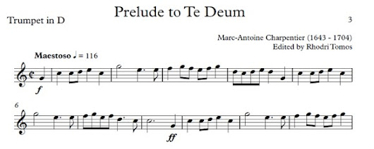 Charpentier Prelude to Te Deum - trumpet sheet music with play along accompaniment