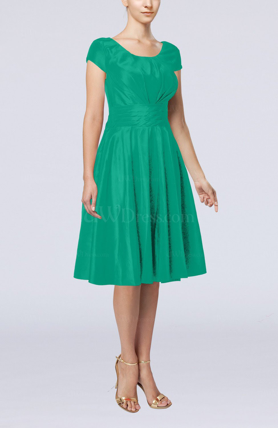 emerald green simple aline scoop short sleeve taffeta