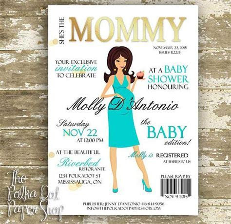 Cute High Fashion Magazine Cover Baby Shower Invitations