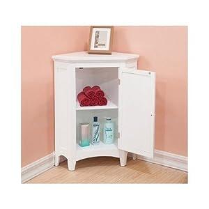 Amazon.com: White Corner Floor Storage Cabinet with ...