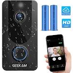 Wireless Smart Video Doorbell Camera with Free Cloud Storage,1080P HD Video,Two-Way Talk,IP65 Weath