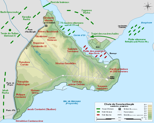 Siege of Constantinople 1453 map-fr