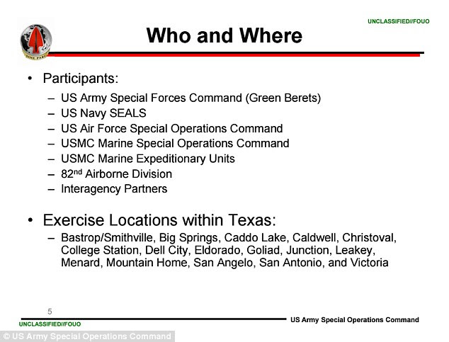 Texas, che i militari hanno designato come 'ostile', ai fini della formazione, è stato scelto per essere un hub del grande programma perché senza precedenti 'texani sono storicamente favorevoli sforzi per preparare i nostri soldati', scrive il USASOC