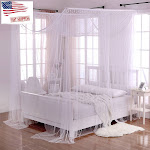 Palace Crystal 4-Post Bed Sheer Panel Canopy, White