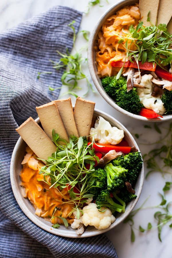 Quick & Easy Red Curry Rice Noodle Bowls   The Full Helping