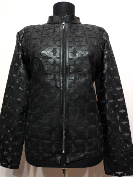 Plus Size Black Leather Leaf Jacket for Women [ Design 06 ] Genuine Short Zip Up Light Lightweight