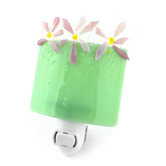 Plug In Night Light, Green with Pink Flowers, Art Glass
