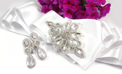 ślubny pas biżuteryjny i kolczyki ślubne sutasz