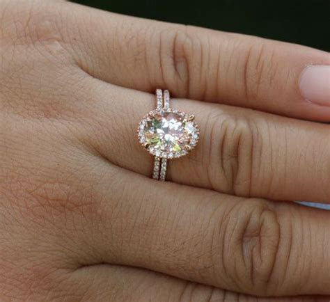 Morganite Engagement Ring Diamond Wedding Ring Set in 14k
