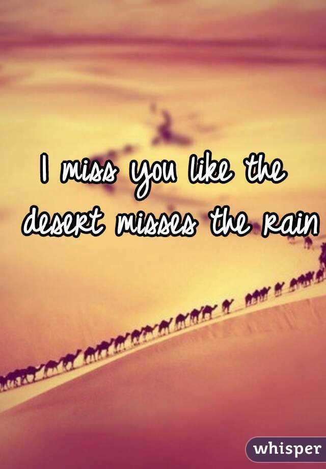 I Miss You Like The Desert Misses The Rain