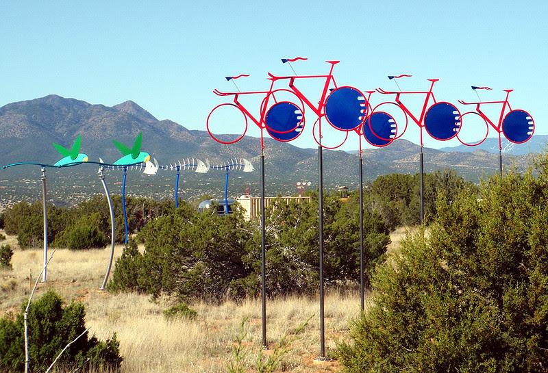 Santa Fe artwork of large wind vanes.