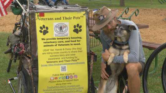 Vets and pets: Homeless veteran cycles nation to raise awareness about nonprofit