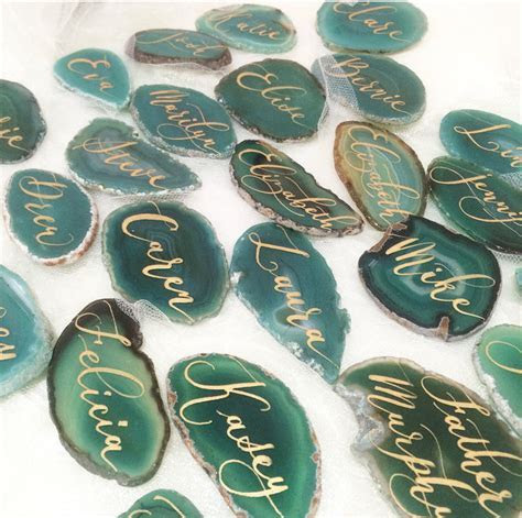 Agate Slices Wedding Calligraphy Place Cards by