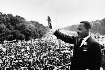 Martin Luther King gives his I Have a Dream speech in 1963 on the steps of the Lincoln Memorial