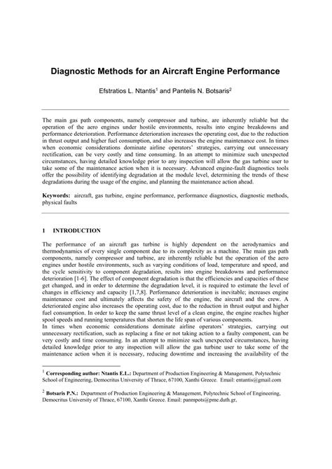 (PDF) Diagnostic Methods for an Aircraft Engine Performance