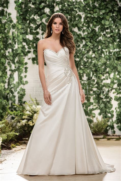 F181060 Sweetheart Strapless Satin Wedding Dress with Beading
