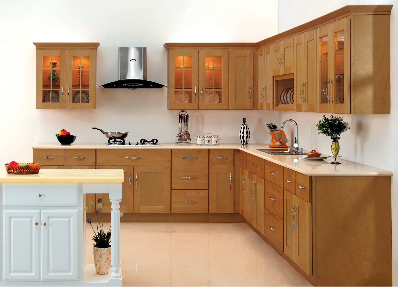 Thomasville Kitchen Cabinets Light Brown Wooden Detail Design Medium Wood Cherry Color Island Luxury With Ceramic White Color And White Walls Give The Impression Light Top Inspirations