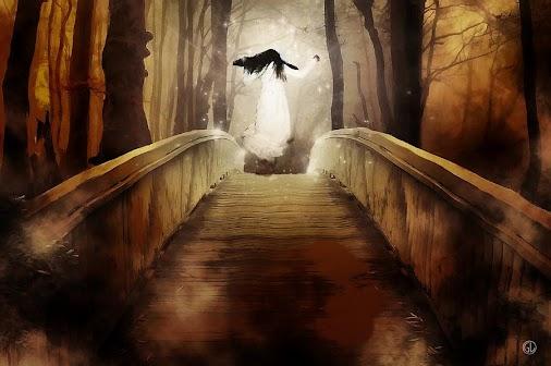 #bridge #landscape #forest #trees #dark #night #girl