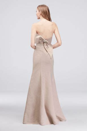 Strapless Mermaid Faille Bridesmaid Dress with Bow   David