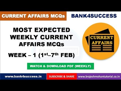 Weekly Current Affairs MCQs February Month (1st-7th) PDF Download | Latest GK