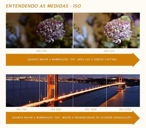 Imagem de flor e ponte fotografadas com diferentes valores ISO (Foto: Reprodução/PhotographersOnUTube e Exposure Guide)