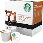 Starbucks K-Cup, Coffee, Ground, Medium Roast, Pike Place Roast - 16 pack, 0.44 oz k-cups