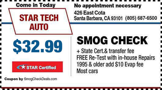 $32.75 Smog Check in Santa Barbara - STAR Station