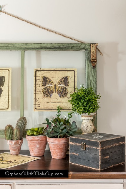 BOTANICAL BUTTERFLY WALL ART {upcycled windows}