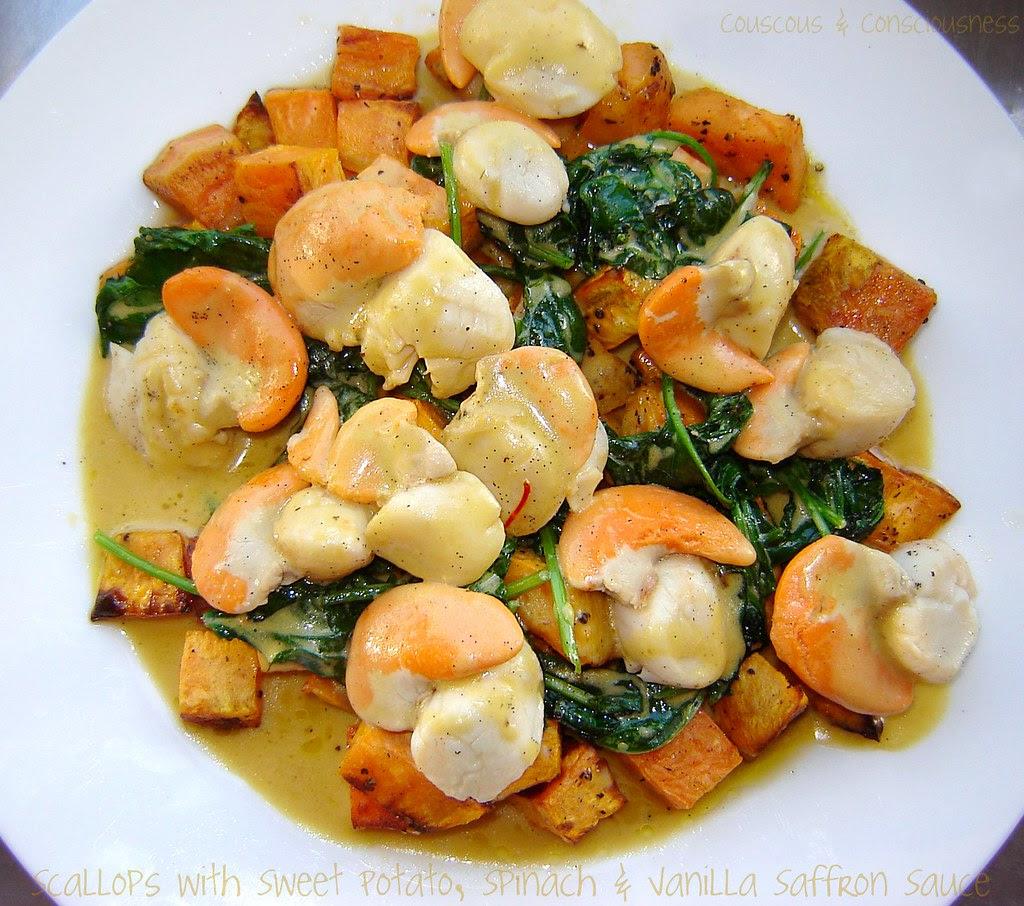 Scallops with Sweet Potato, Spinach & Vanilla Saffron Sauce 1