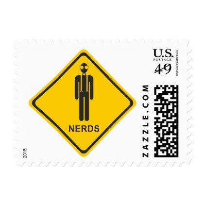 Funny Warning: Nerd at Work Nerd Stamp