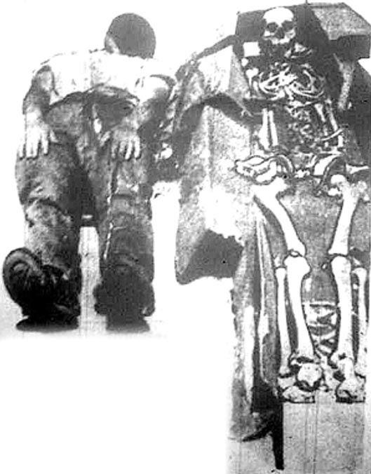 Figura 9: Les Eaton en el suelo junto al esqueleto de 8 pies.