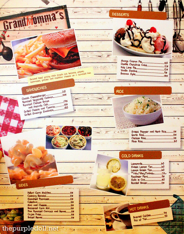 GrandMomma's Kitchen Menu 2