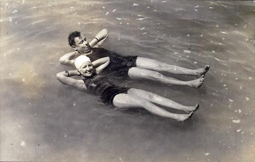 Pair in water at beach