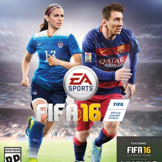Capa do Fifa 16 tem Alex Morgan e Lionel Messi. Em 2017, James Rodriguez, do Real Madrid, deverá assumir o posto (Foto: Divulgação)