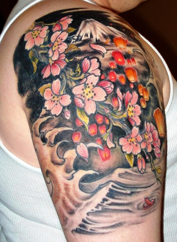Traditional Japanese Flowers Tattoo On Half Sleeve