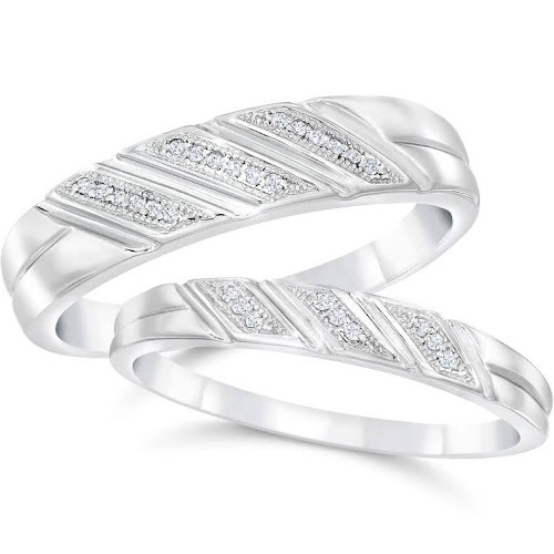 Pompeii 3 Diamond Wedding Rings Set 1 5cttw Matching His Hers Bands 10k White Gold