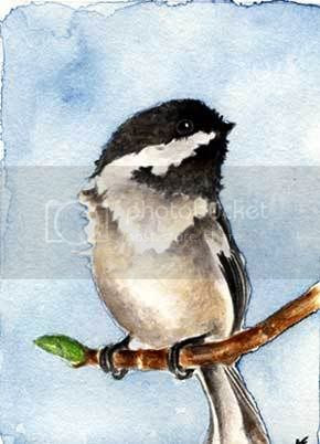 watercolor chickadee painting
