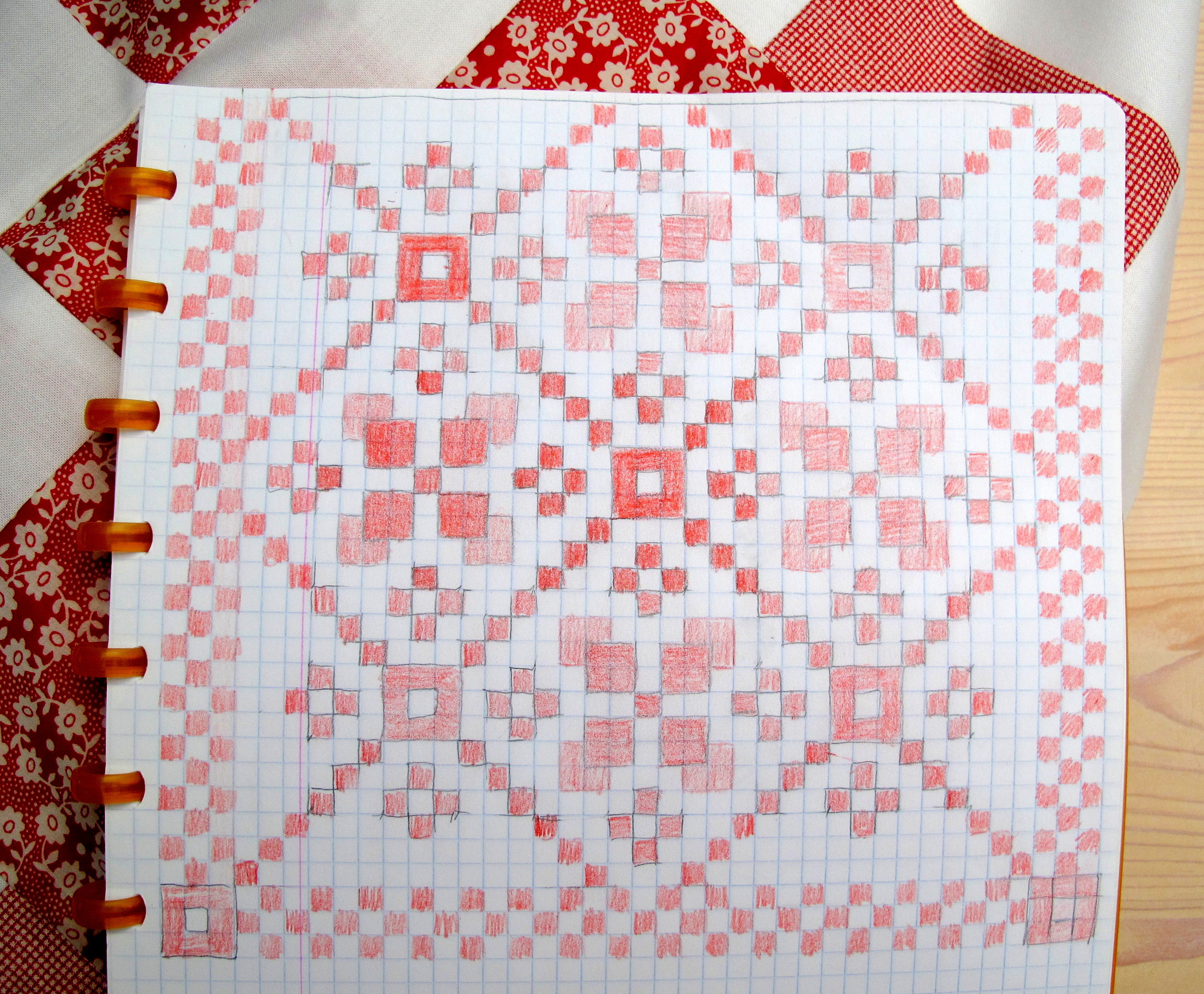Pattern for red and white quilt