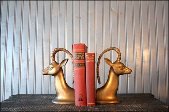 Brass Impala Bookends // Solid Brass Antelopes